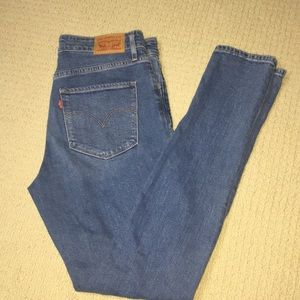 Levis 721 Busted Knee High Rise Skinny Jeans